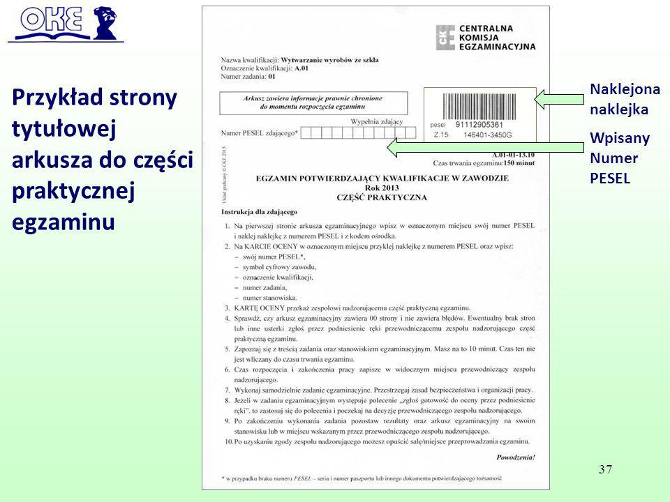 Przykład strony tytułowej arkusza do części praktycznej egzaminu