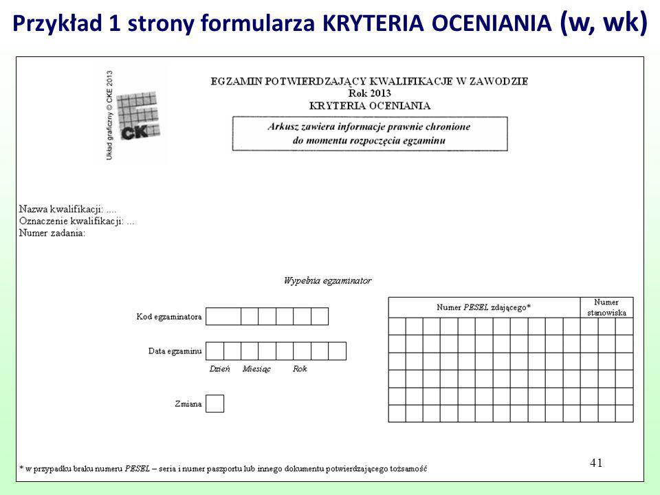 Przykład 1 strony formularza KRYTERIA OCENIANIA (w, wk)
