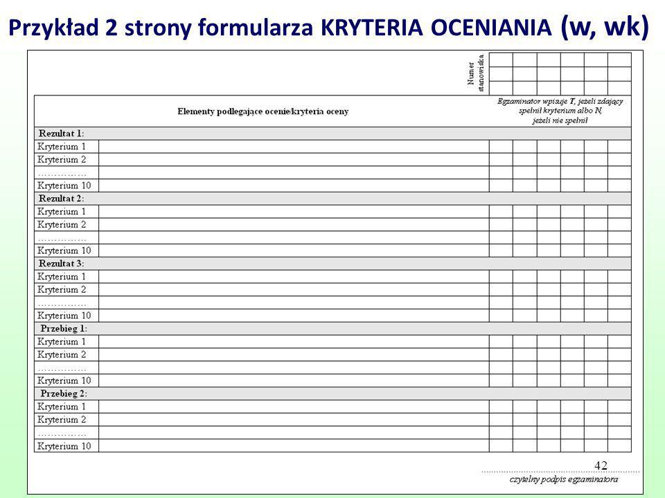 Przykład 2 strony formularza KRYTERIA OCENIANIA (w, wk)