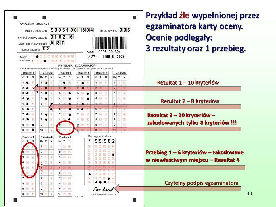 Przykład źle wypełnionej przez egzaminatora karty oceny.