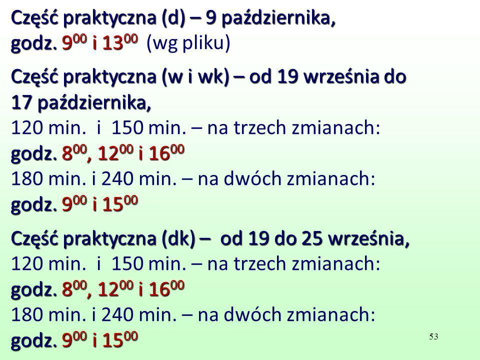 Część praktyczna (d) – 9 października, godz. 900 i 1300 (wg pliku)