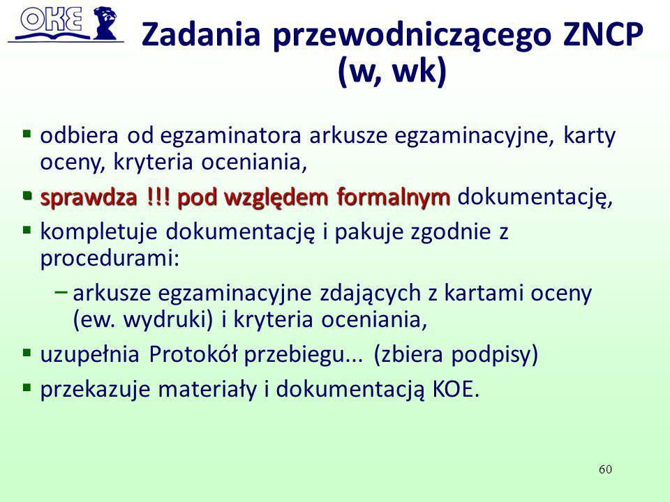 Zadania przewodniczącego ZNCP (w, wk)