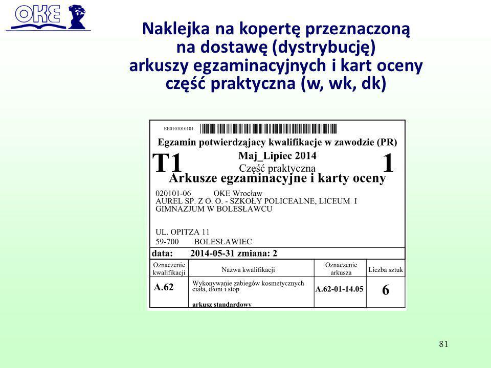 Naklejka na kopertę przeznaczoną na dostawę (dystrybucję)
