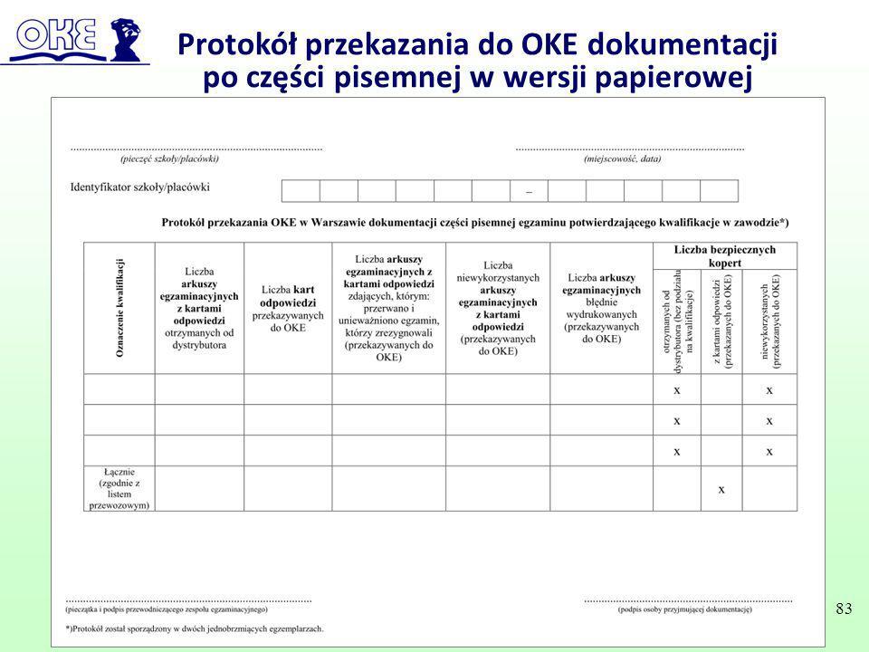 Protokół przekazania do OKE dokumentacji po części pisemnej w wersji papierowej