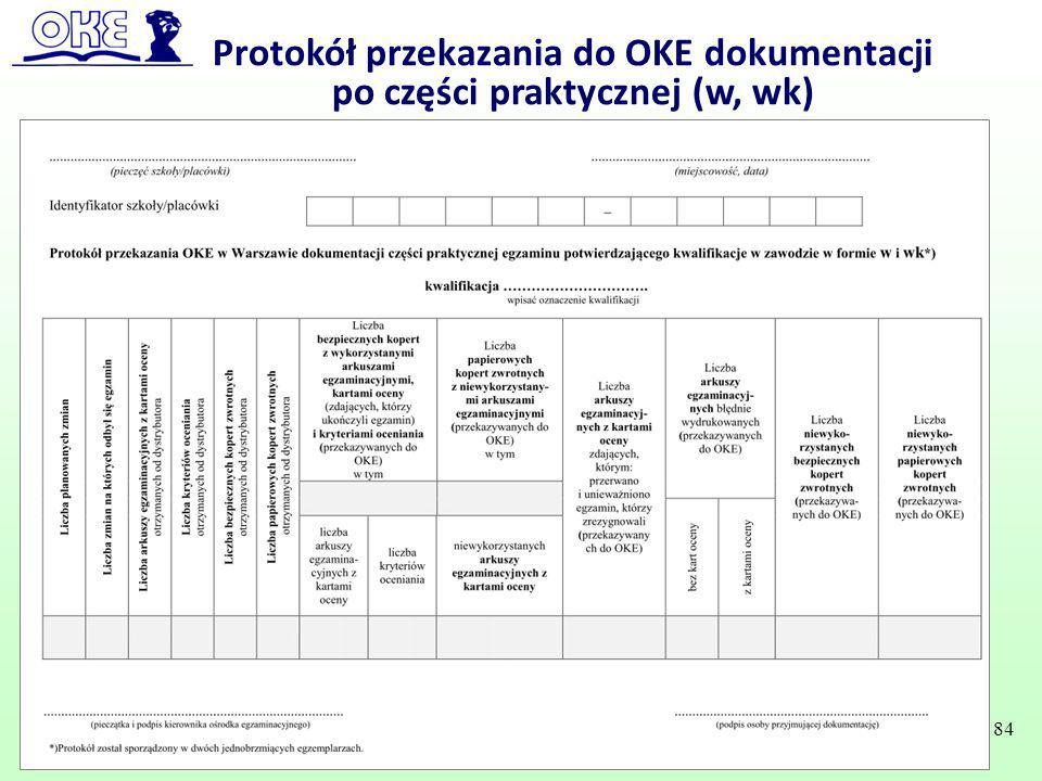 Protokół przekazania do OKE dokumentacji po części praktycznej (w, wk)