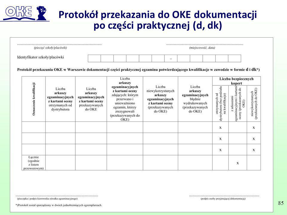 Protokół przekazania do OKE dokumentacji po części praktycznej (d, dk)