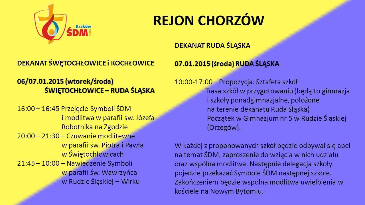 REJON CHORZÓW DEKANAT RUDA ŚLĄSKA 07.01.2015 (środa) RUDA ŚLĄSKA