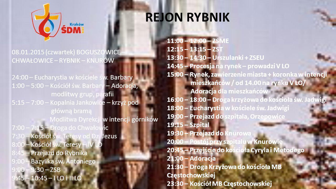 REJON RYBNIK 11:00 – 12:00 – ZSME 12:15 – 13:15 – ZST