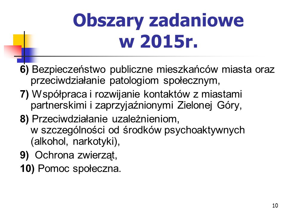 Obszary zadaniowe w 2015r. 6) Bezpieczeństwo publiczne mieszkańców miasta oraz przeciwdziałanie patologiom społecznym,