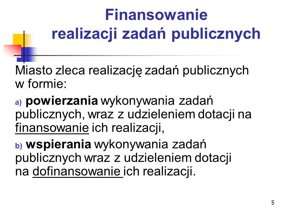 Finansowanie realizacji zadań publicznych