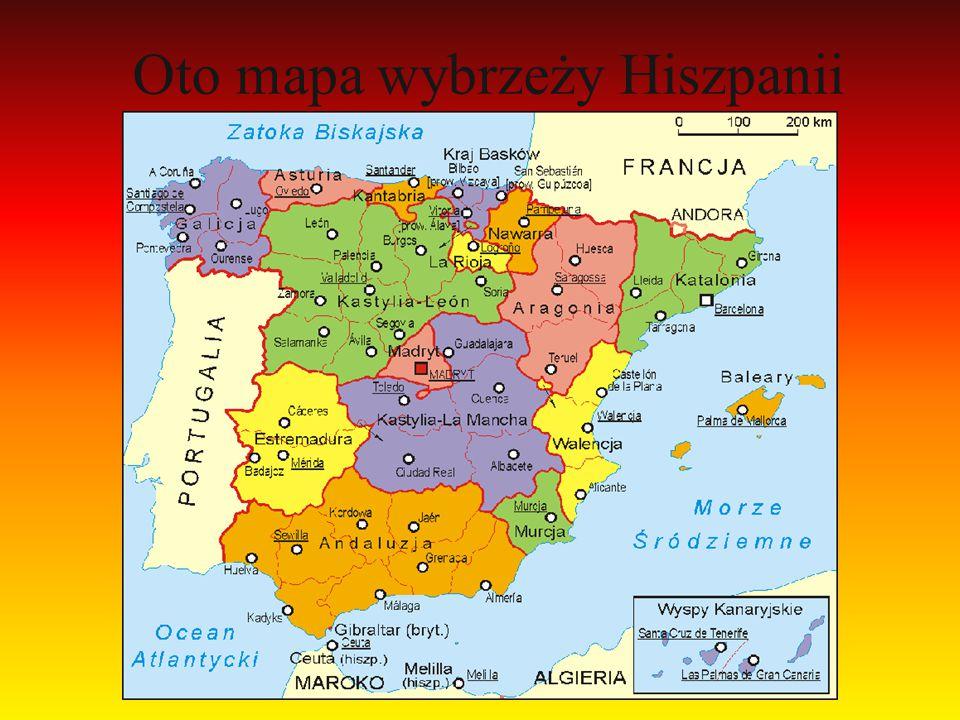 Oto mapa wybrzeży Hiszpanii