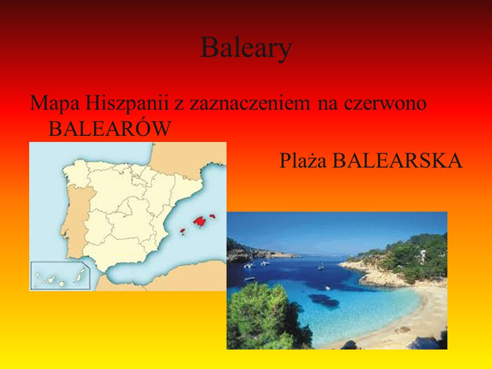 Baleary Mapa Hiszpanii z zaznaczeniem na czerwono BALEARÓW