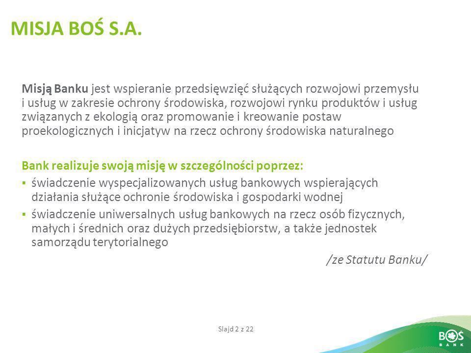 MISJA BOŚ S.A. Misją Banku jest wspieranie przedsięwzięć służących rozwojowi przemysłu.