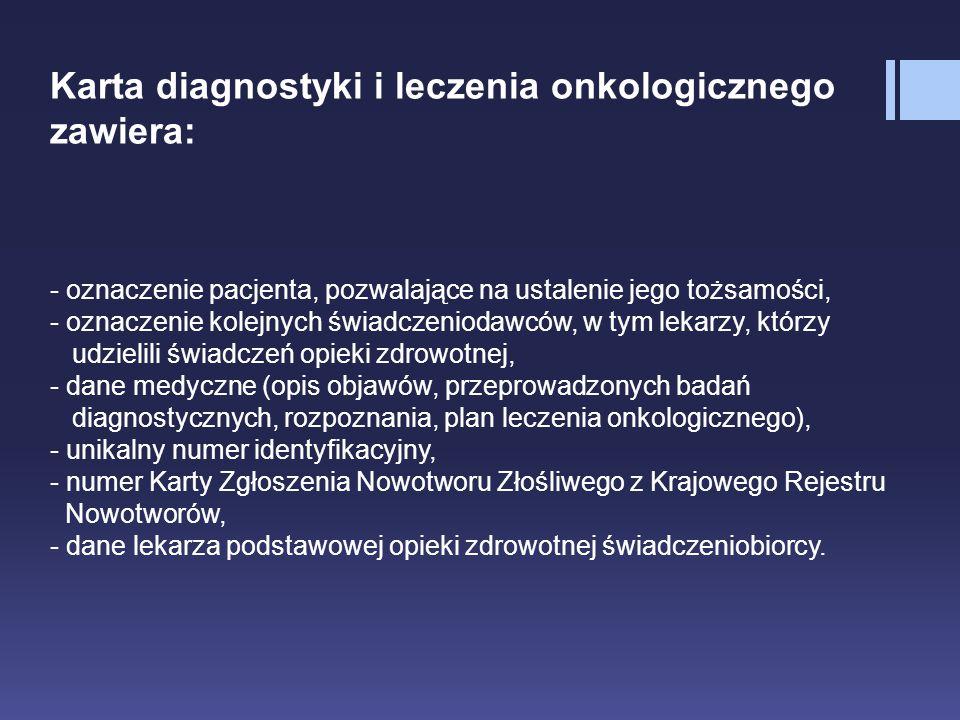 Karta diagnostyki i leczenia onkologicznego zawiera: