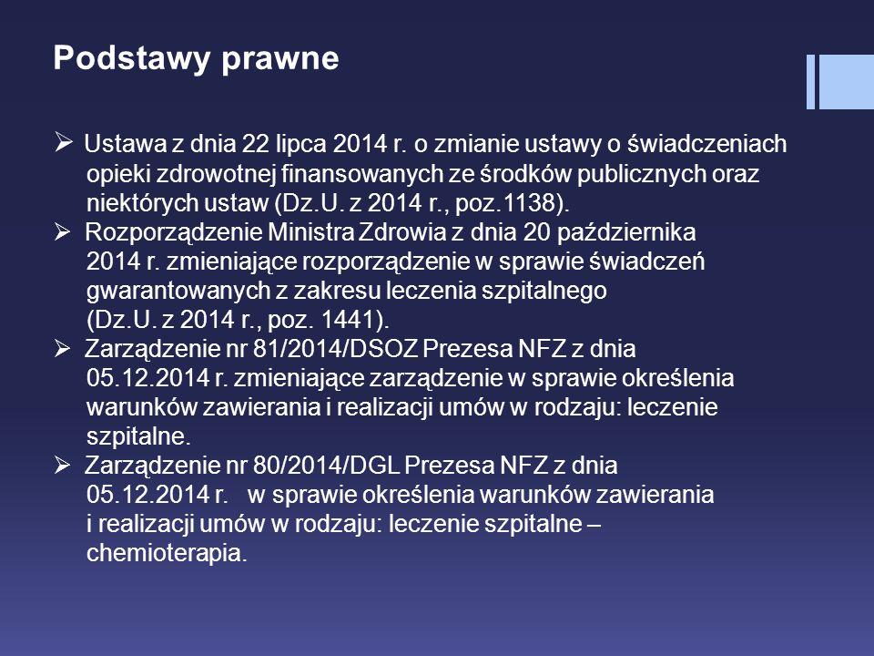 Podstawy prawne Ustawa z dnia 22 lipca 2014 r. o zmianie ustawy o świadczeniach. opieki zdrowotnej finansowanych ze środków publicznych oraz.