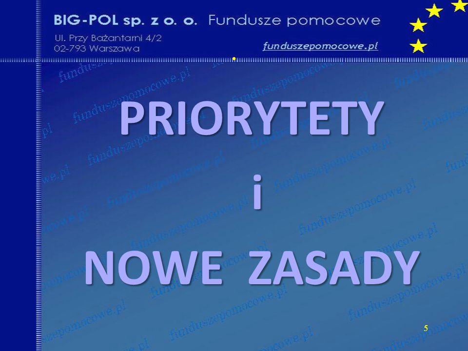 PRIORYTETY i NOWE ZASADY