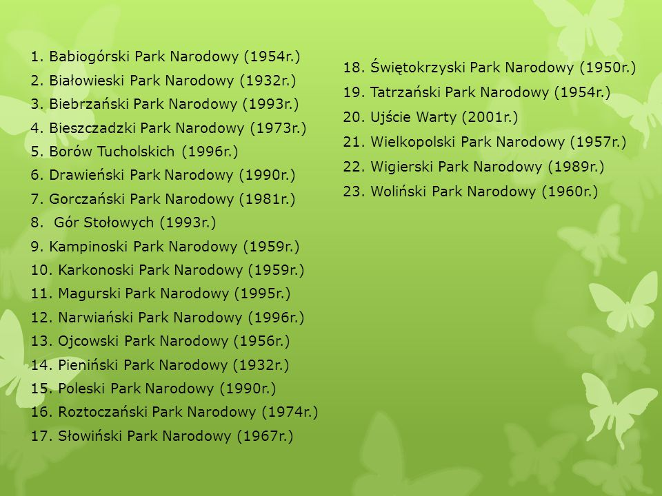 1. Babiogórski Park Narodowy (1954r. ) 2