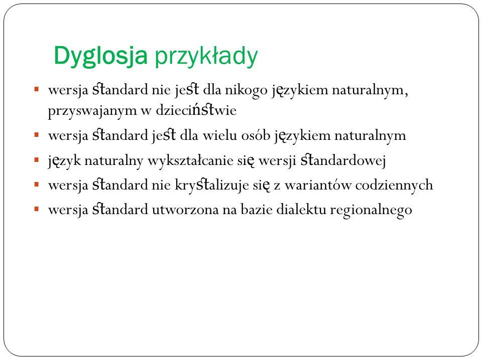 Dyglosja przykłady wersja standard nie jest dla nikogo językiem naturalnym, przyswajanym w dzieciństwie.