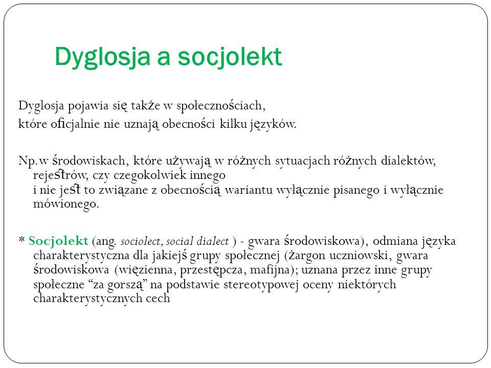 Dyglosja a socjolekt