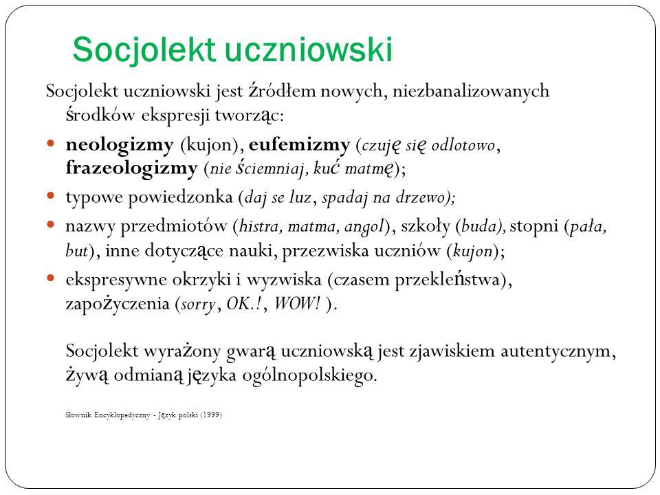 Socjolekt uczniowski Socjolekt uczniowski jest źródłem nowych, niezbanalizowanych środków ekspresji tworząc: