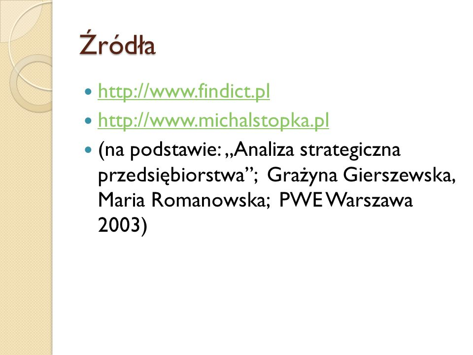 Źródła http://www.findict.pl http://www.michalstopka.pl