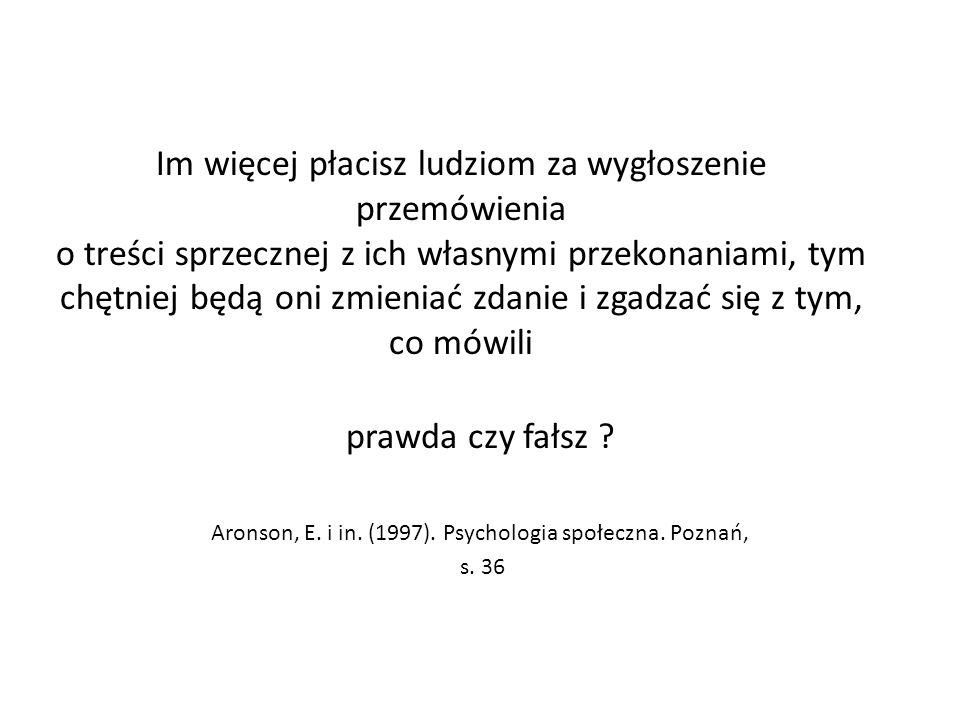 Aronson, E. i in. (1997). Psychologia społeczna. Poznań,