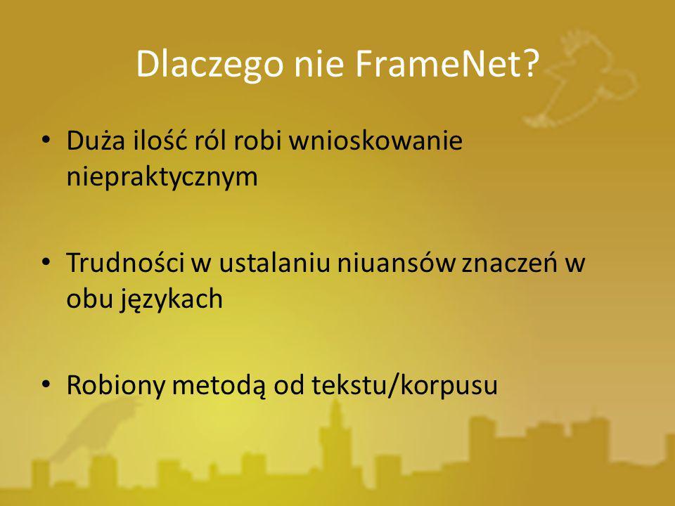 Dlaczego nie FrameNet Duża ilość ról robi wnioskowanie niepraktycznym