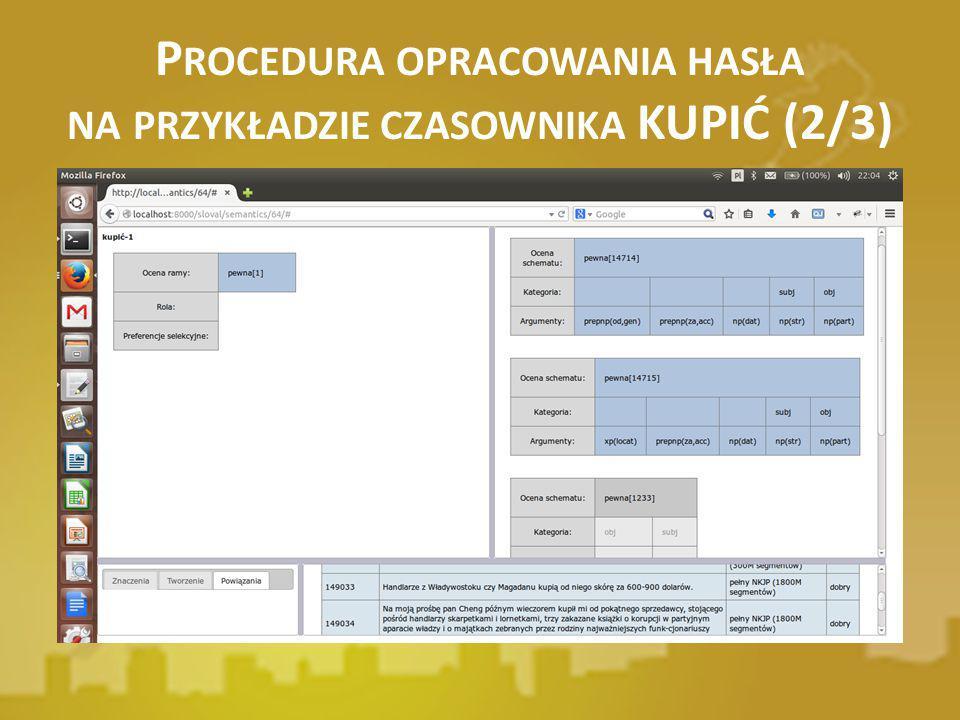Procedura opracowania hasła na przykładzie czasownika KUPIĆ (2/3)