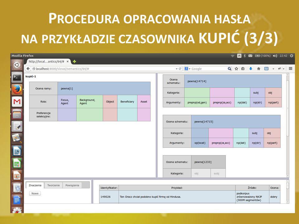 Procedura opracowania hasła na przykładzie czasownika KUPIĆ (3/3)