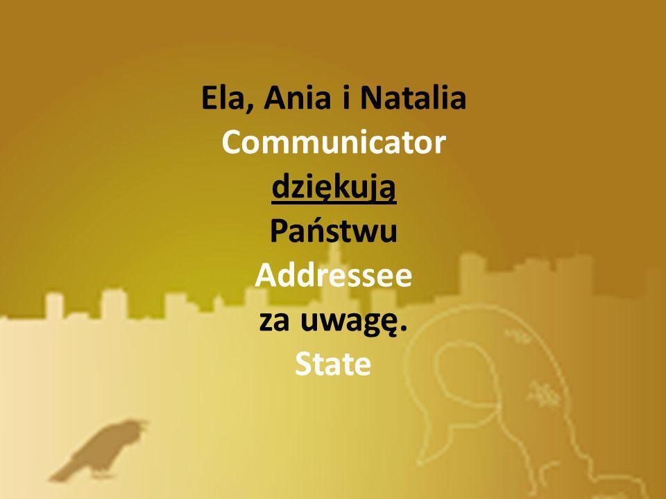 Ela, Ania i Natalia Communicator dziękują Państwu Addressee za uwagę