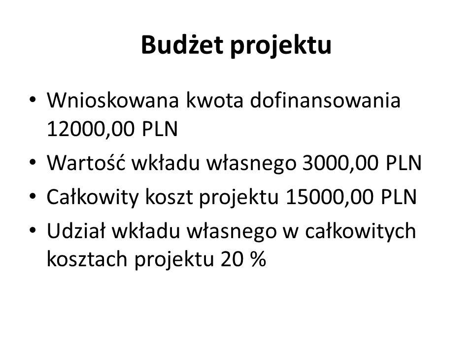 Budżet projektu Wnioskowana kwota dofinansowania 12000,00 PLN