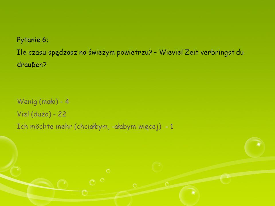 Pytanie 6: Ile czasu spędzasz na świeżym powietrzu – Wieviel Zeit verbringst du drauβen Wenig (mało) - 4.
