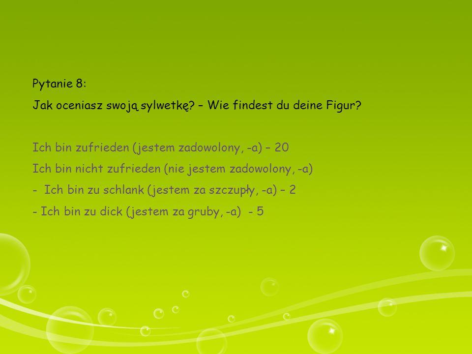 Pytanie 8: Jak oceniasz swoją sylwetkę – Wie findest du deine Figur Ich bin zufrieden (jestem zadowolony, -a) – 20.