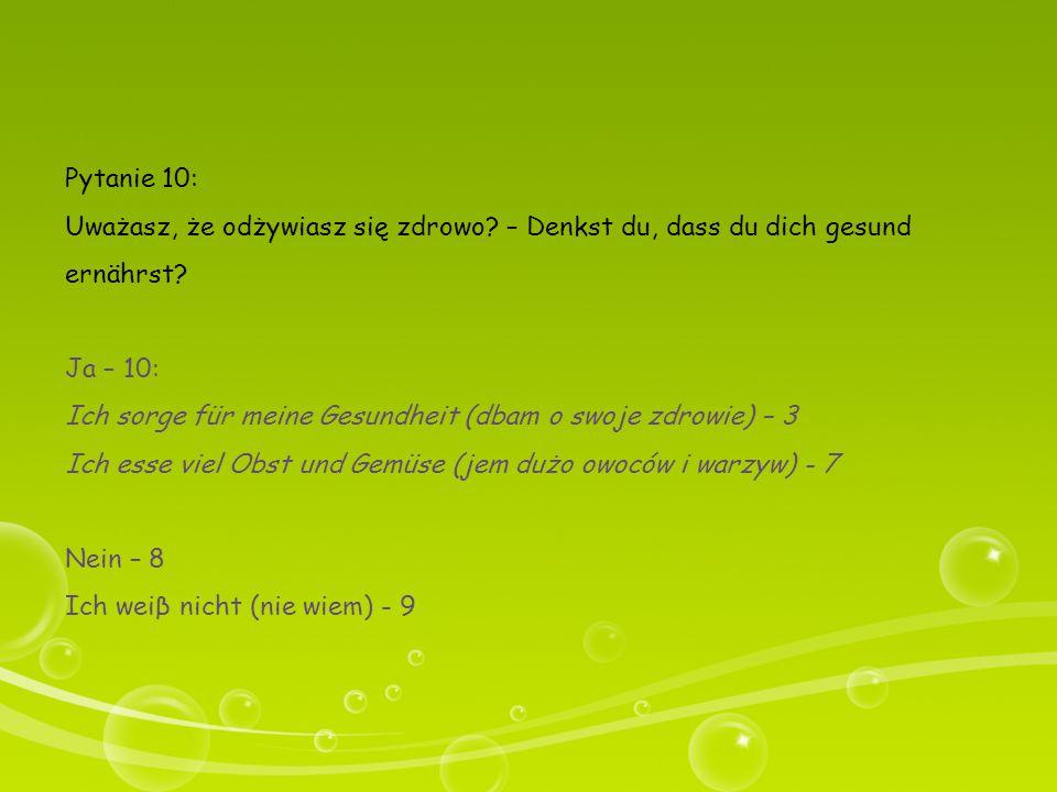 Pytanie 10: Uważasz, że odżywiasz się zdrowo – Denkst du, dass du dich gesund ernährst Ja – 10: