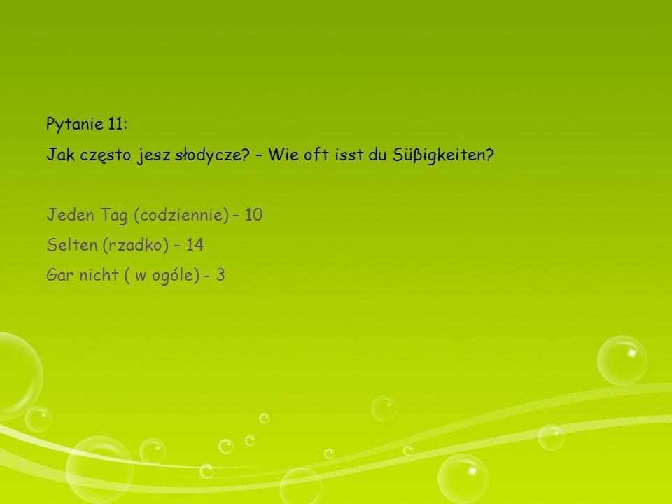 Pytanie 11: Jak często jesz słodycze – Wie oft isst du Süβigkeiten Jeden Tag (codziennie) – 10. Selten (rzadko) – 14.