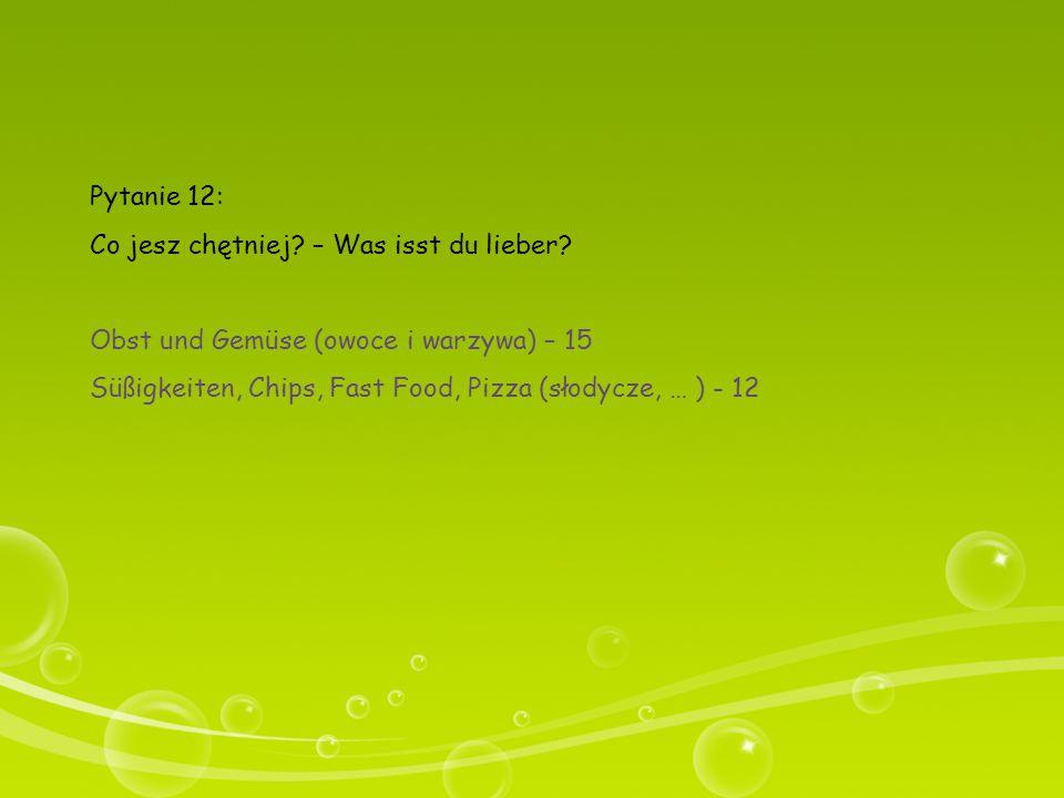 Pytanie 12: Co jesz chętniej – Was isst du lieber Obst und Gemüse (owoce i warzywa) – 15.