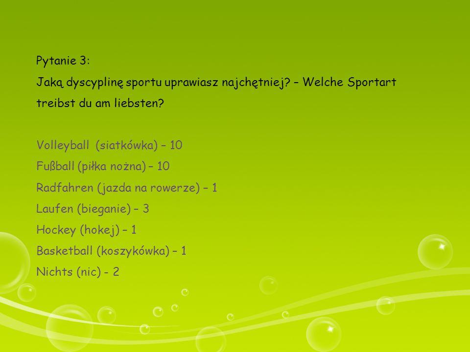 Pytanie 3: Jaką dyscyplinę sportu uprawiasz najchętniej – Welche Sportart treibst du am liebsten Volleyball (siatkówka) – 10.