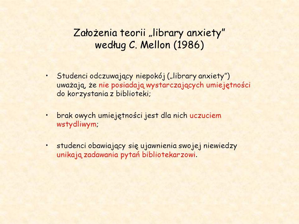 """Założenia teorii """"library anxiety według C. Mellon (1986)"""