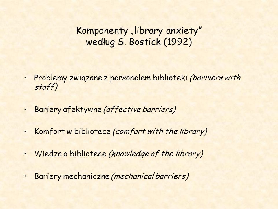 "Komponenty ""library anxiety według S. Bostick (1992)"