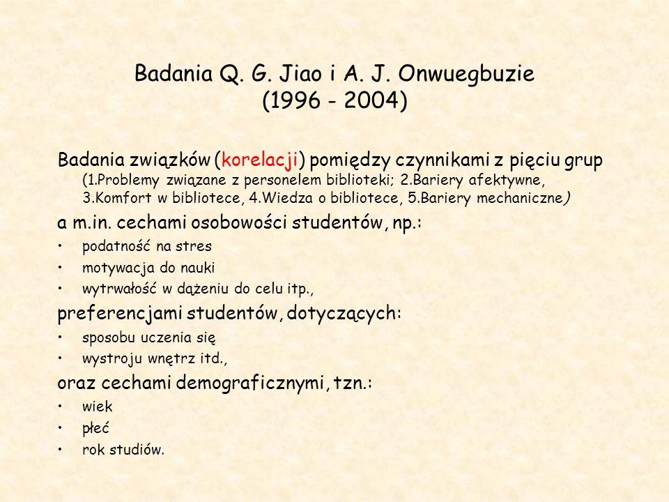 Badania Q. G. Jiao i A. J. Onwuegbuzie (1996 - 2004)