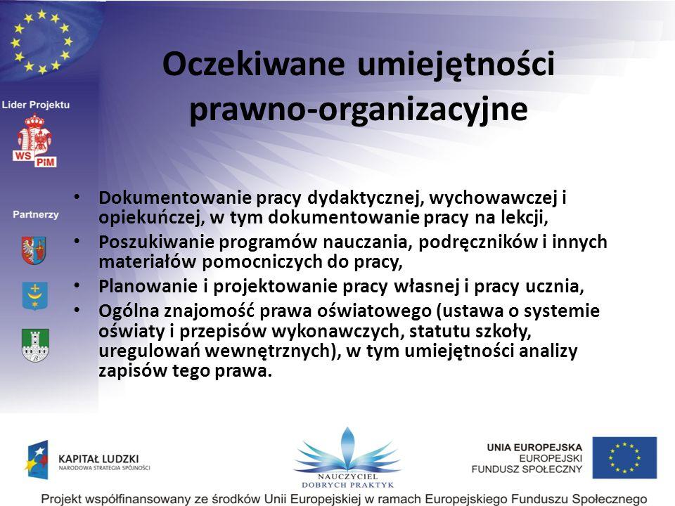 Oczekiwane umiejętności prawno-organizacyjne