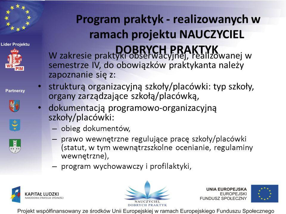 Program praktyk - realizowanych w ramach projektu NAUCZYCIEL DOBRYCH PRAKTYK