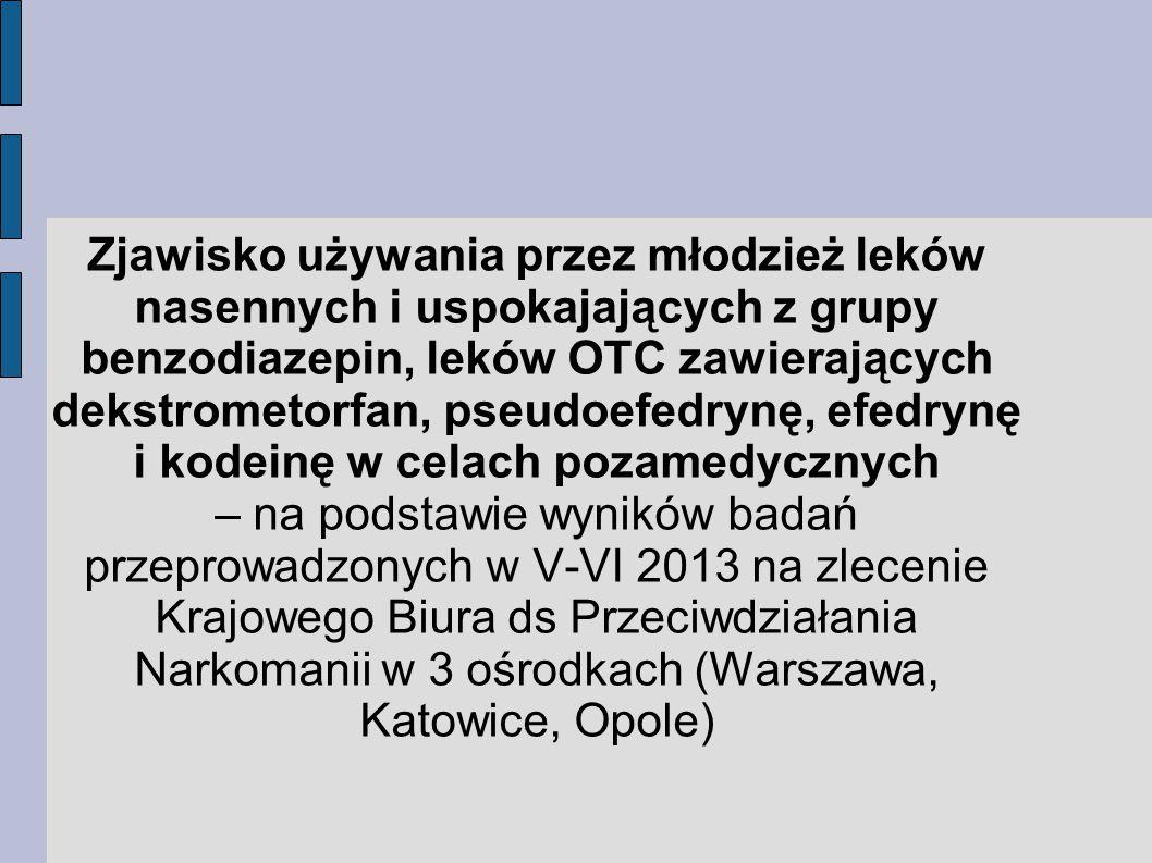 Zjawisko używania przez młodzież leków nasennych i uspokajających z grupy benzodiazepin, leków OTC zawierających dekstrometorfan, pseudoefedrynę, efedrynę i kodeinę w celach pozamedycznych – na podstawie wyników badań przeprowadzonych w V-VI 2013 na zlecenie Krajowego Biura ds Przeciwdziałania Narkomanii w 3 ośrodkach (Warszawa, Katowice, Opole)