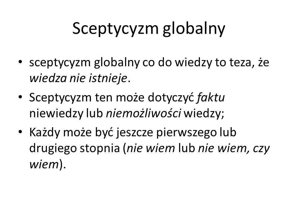 Sceptycyzm globalny sceptycyzm globalny co do wiedzy to teza, że wiedza nie istnieje.