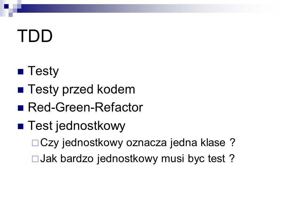 TDD Testy Testy przed kodem Red-Green-Refactor Test jednostkowy