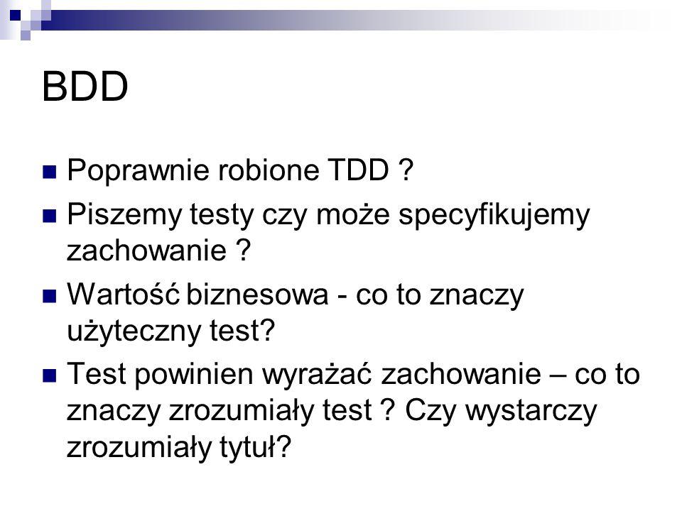 BDD Poprawnie robione TDD