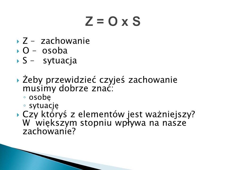 Z = O x S Z – zachowanie O – osoba S – sytuacja