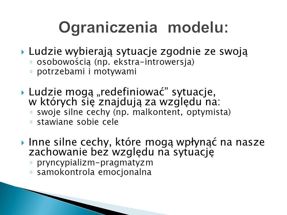 Ograniczenia modelu: Ludzie wybierają sytuacje zgodnie ze swoją