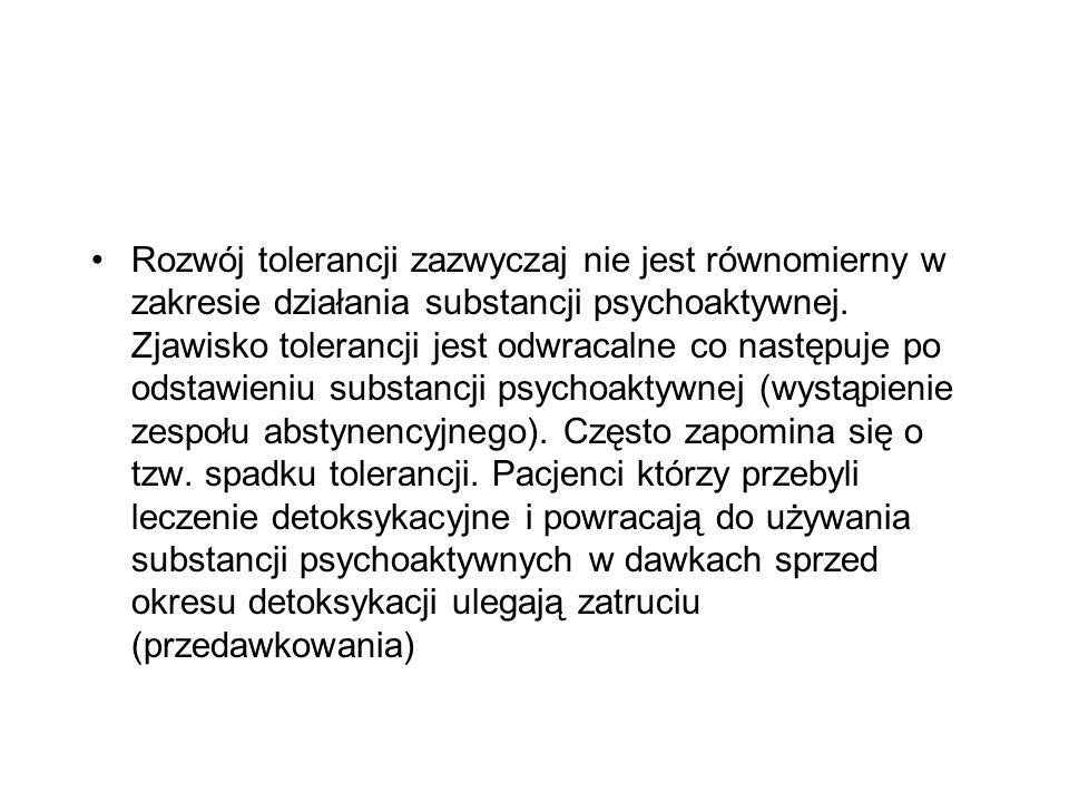 Rozwój tolerancji zazwyczaj nie jest równomierny w zakresie działania substancji psychoaktywnej.