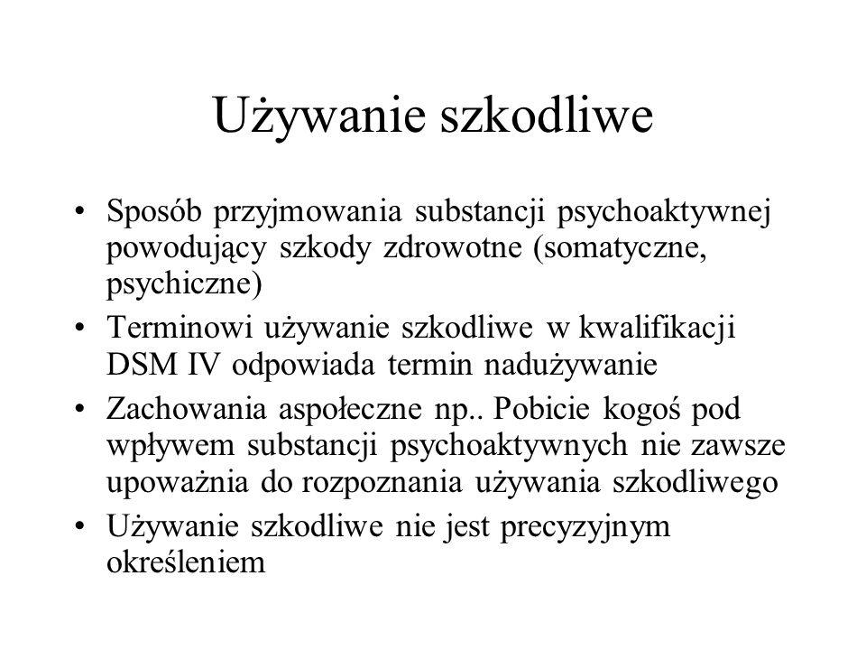 Używanie szkodliwe Sposób przyjmowania substancji psychoaktywnej powodujący szkody zdrowotne (somatyczne, psychiczne)